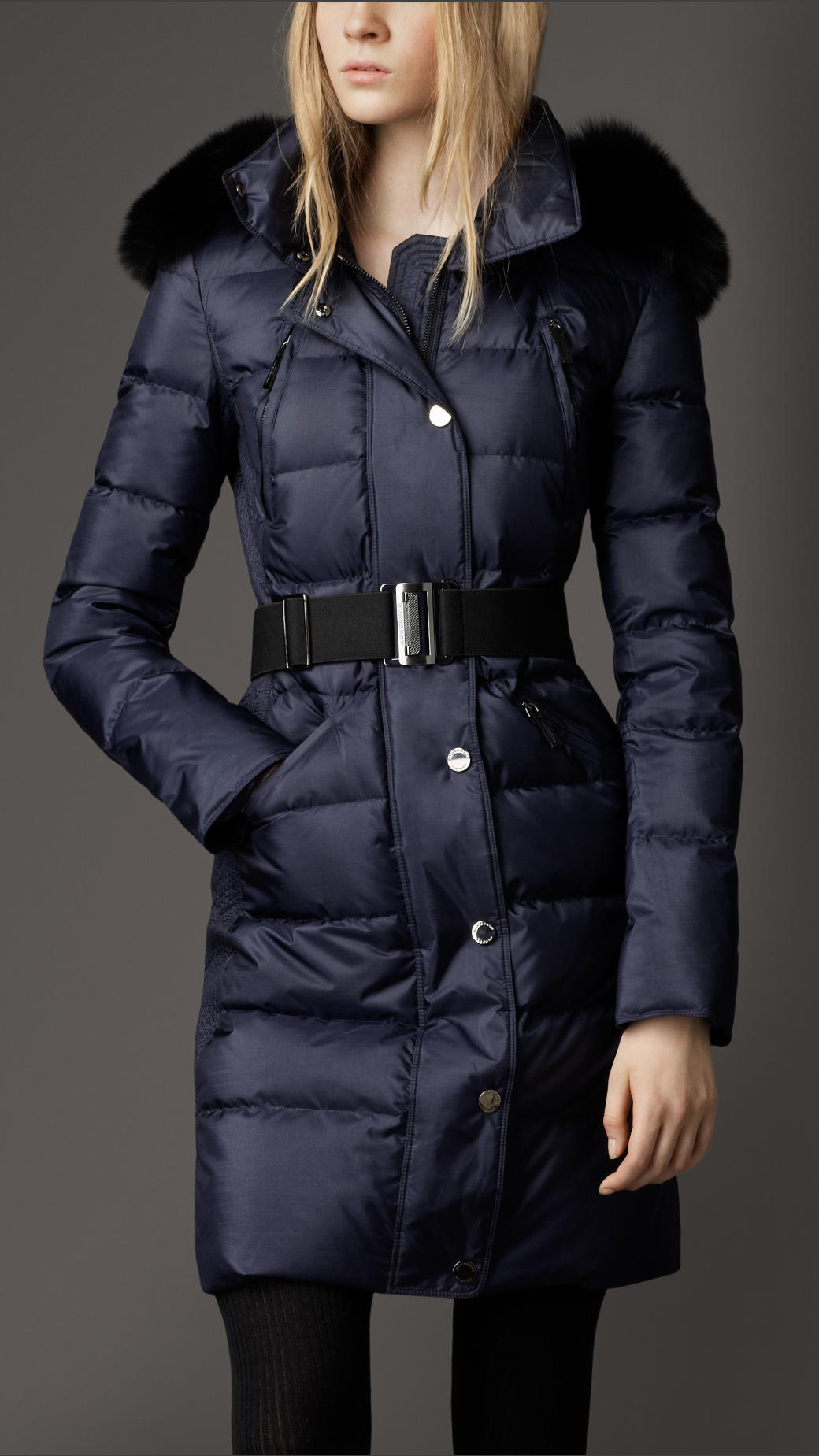 Burberry Fur Trim Quilted Coat In Blue Navy Lyst
