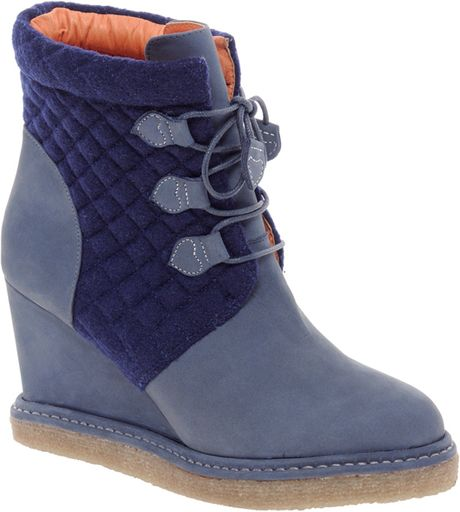 f troupe wedge quilt ankle boots in blue lyst