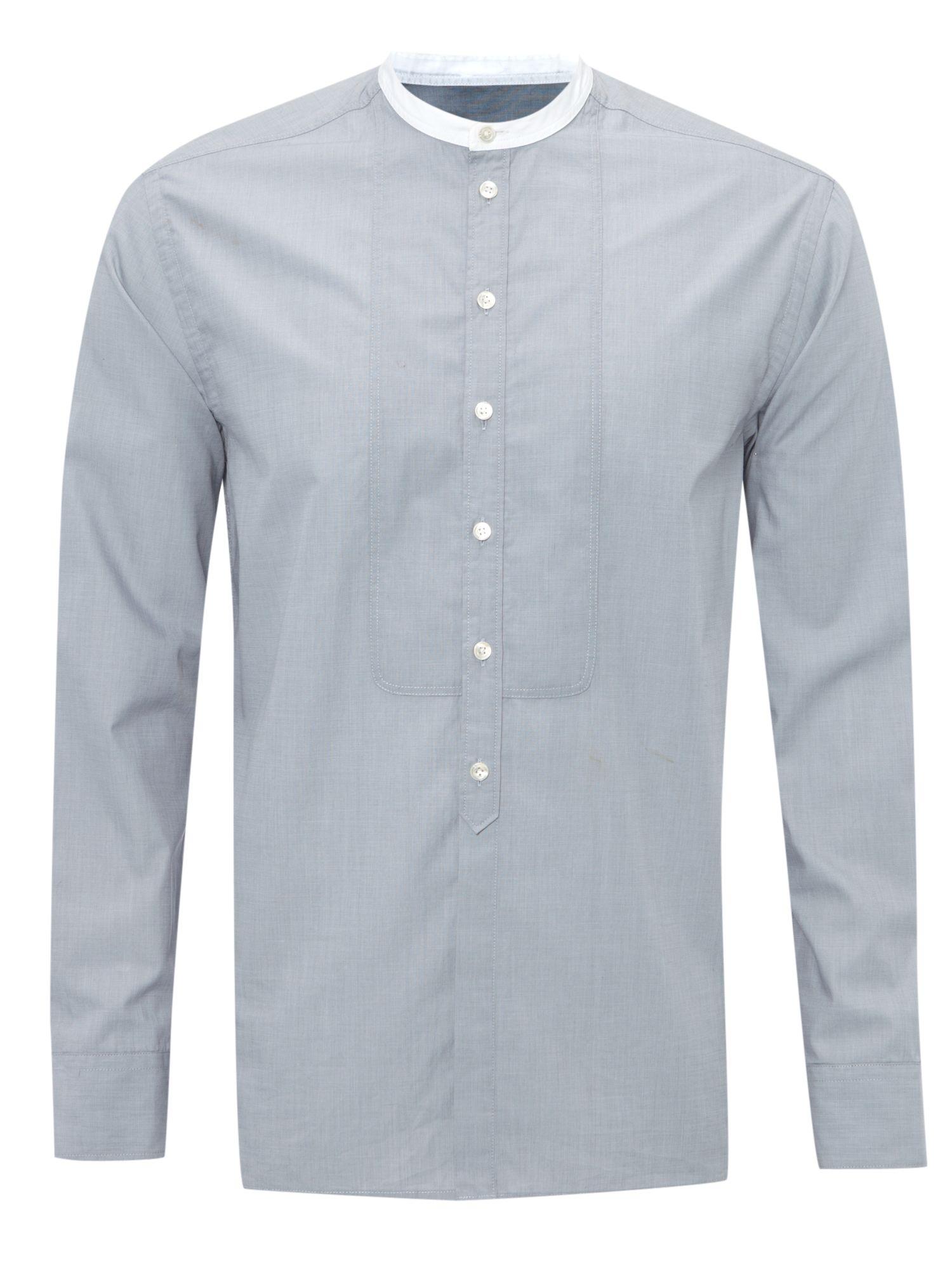 Lyst Farrell Grandad Collar Shirt In Blue For Men: mens grandad collar shirt