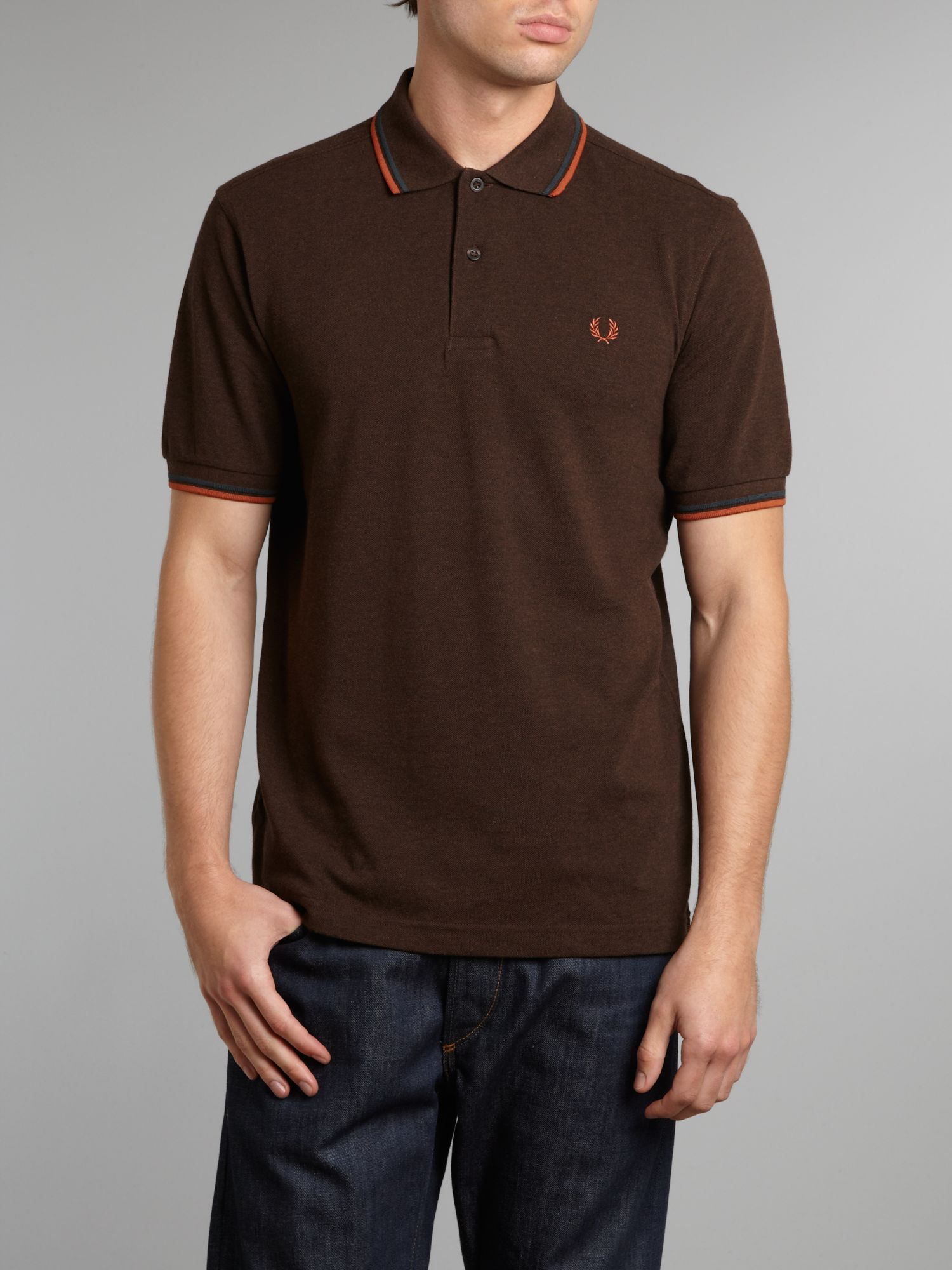 lyst fred perry classic twin tipped polo shirt in brown for men. Black Bedroom Furniture Sets. Home Design Ideas