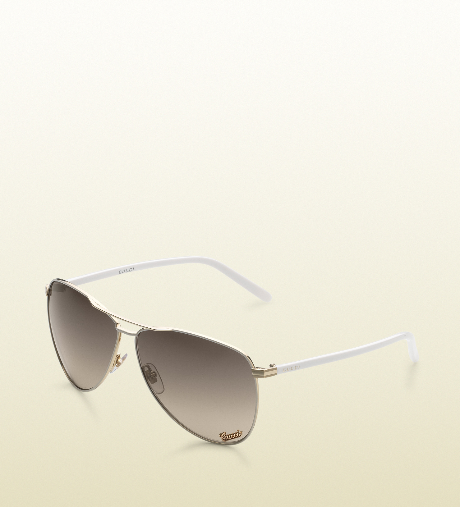 Gucci Aviator Sunglasses with Gucci Signature Pad On Lens and Gucci ... 5edc289f9