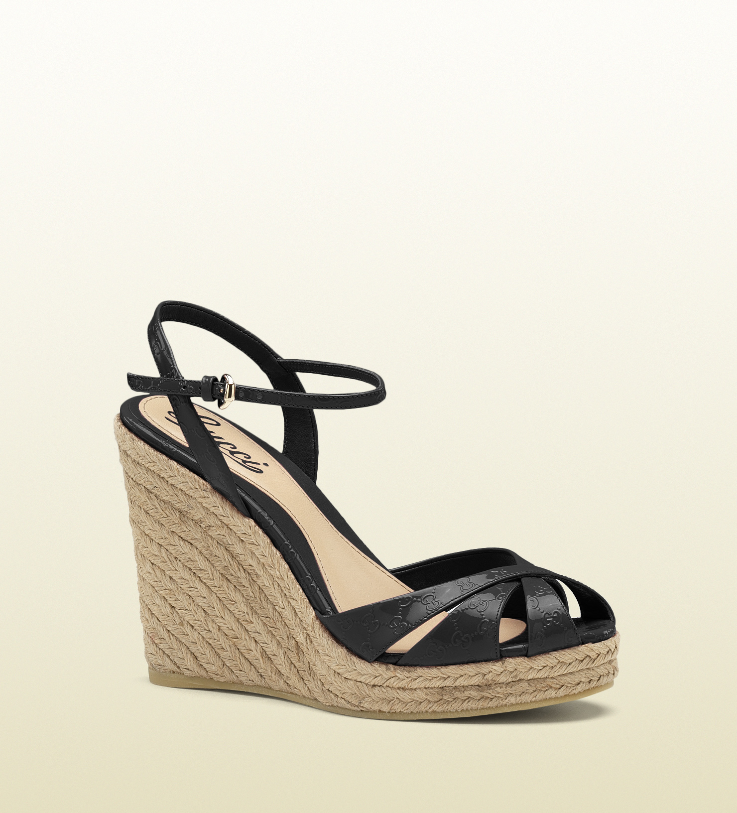 Lyst - Gucci Penelope Strappy Espadrille Wedge Sandal in Black