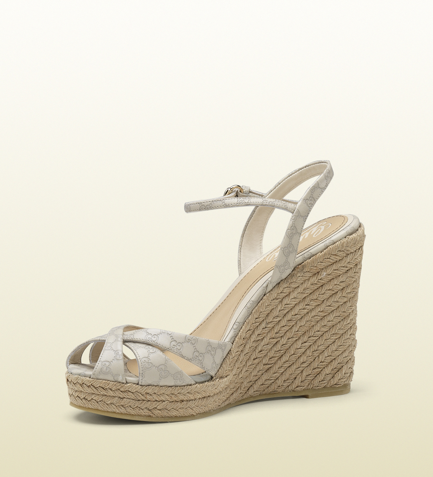 77a9af28ddeab8 Lyst - Gucci Penelope Strappy Espadrille Wedge Sandal in Natural