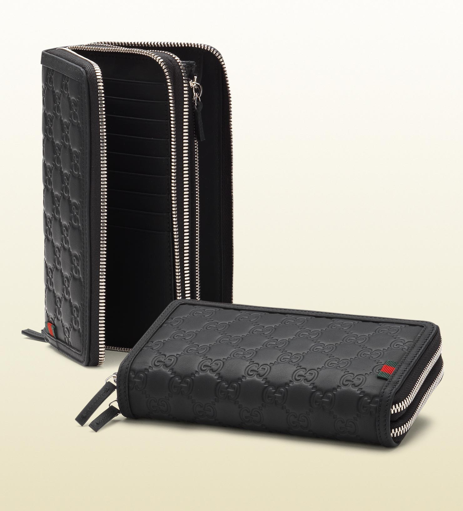 af730ff4fc81 Gucci Rubber Ssima Leather Double Zip Around Wallet in Black for Men ...