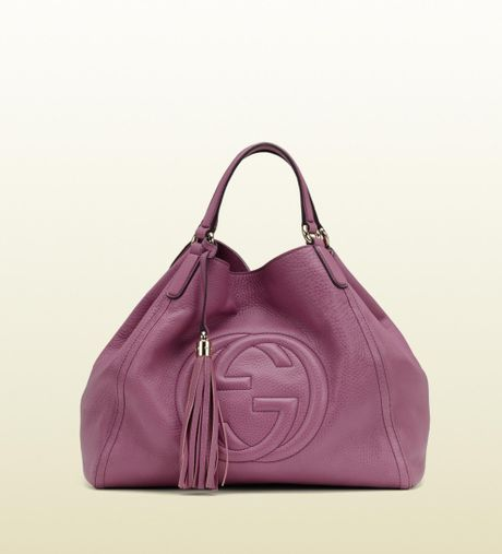 Gucci Soho Light Sunflower Leather Shoulder Bag in Pink (sunflower) - Lyst