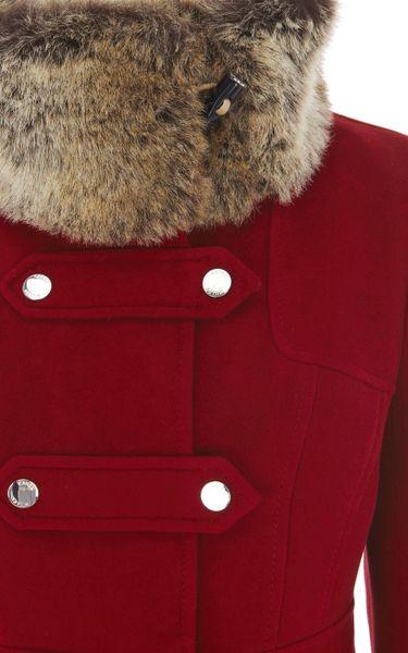 Karen Millen Moleskin With Fur Trim In Red Lyst