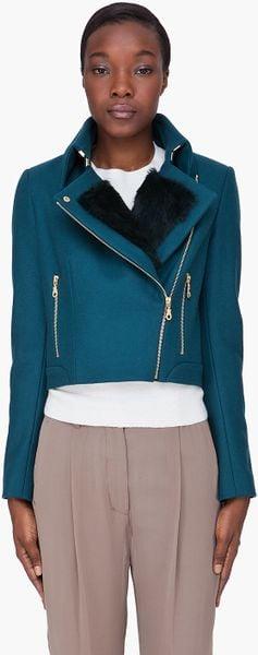 Kenzo Teal Rabbit Fur Trim Jacket in Blue (teal)