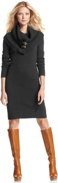Michael Kors Longsleeve Buckled Cowlneck Sweater Dress in Gray