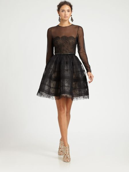 Oscar De La Renta Sheer Lace Cocktail Dress in Black - Lyst