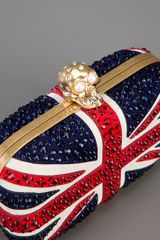 Alexander Mcqueen Union Jack Skull Clutch in Blue - Lyst