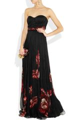 Alexander Mcqueen FloralPrint Pleated Silk Chiffon Gown in Black (floral) - Lyst