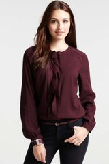 Ann Taylor Cascading Strips Long Sleeve Blouse - Lyst