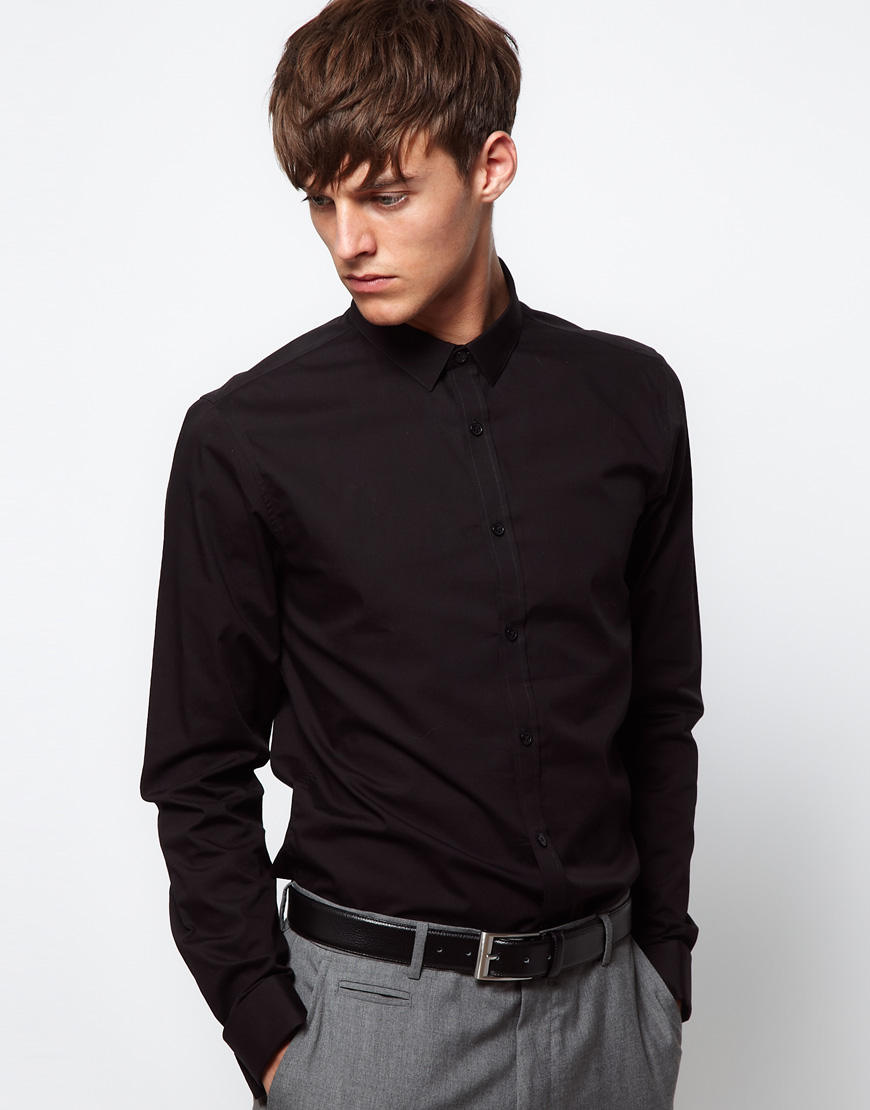 Lyst Asos Slim Fit Shirt With Double Cuff In Black For Men