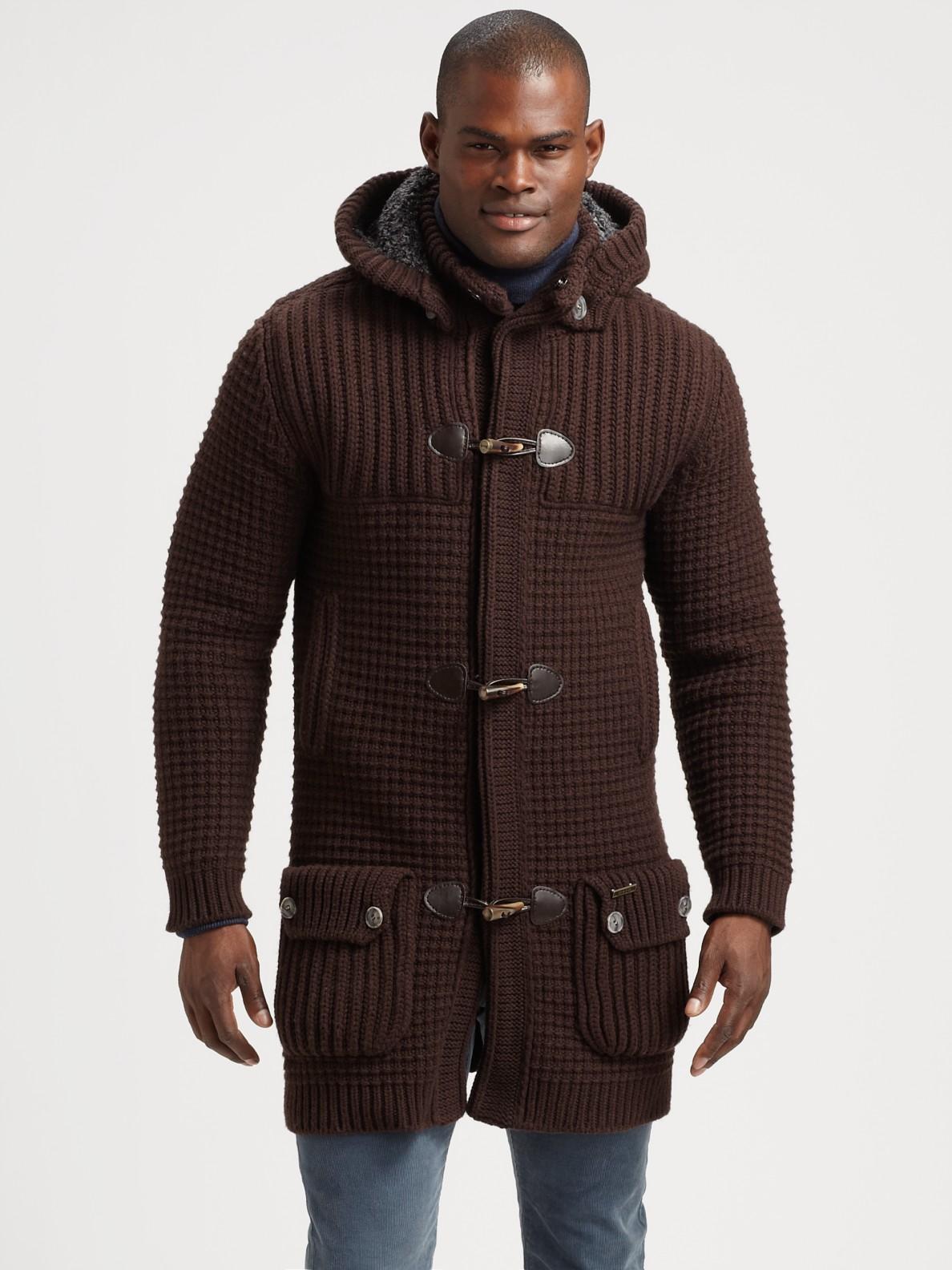 lyst bark knit duffel coat in brown for men. Black Bedroom Furniture Sets. Home Design Ideas
