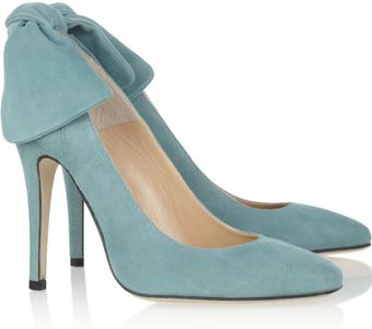 Carven Bow Embellished Suede Pumps - Lyst