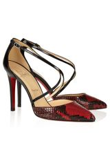 Christian Louboutin Crosspiga 100 Python and Leather Sandals - Lyst
