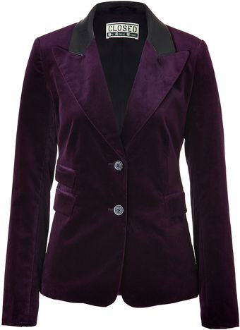 Closed India Ink Jagger Blazer with Leather Trim - Lyst