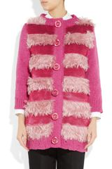 Marc Jacobs Faux Fur and Sequinembellished Cardigan in Purple (magenta) - Lyst
