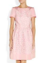 Oscar De La Renta Lace and Silk Faille Dress in Pink - Lyst