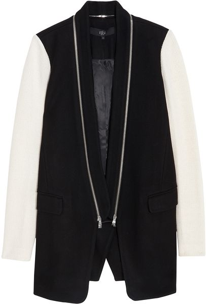 Tibi Knit Cashmere Combo Coat in Black - Lyst