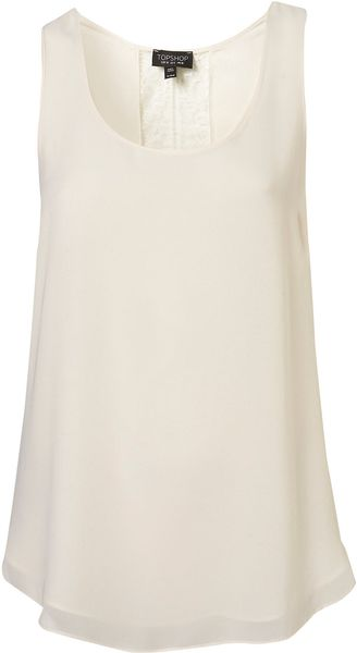 Topshop Cream Lace Back Vest - Lyst