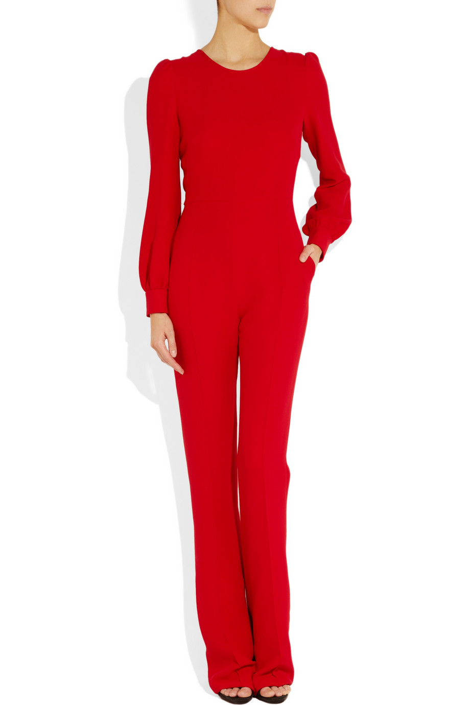 Valentino Silkcrepe Jumpsuit In Red Lyst
