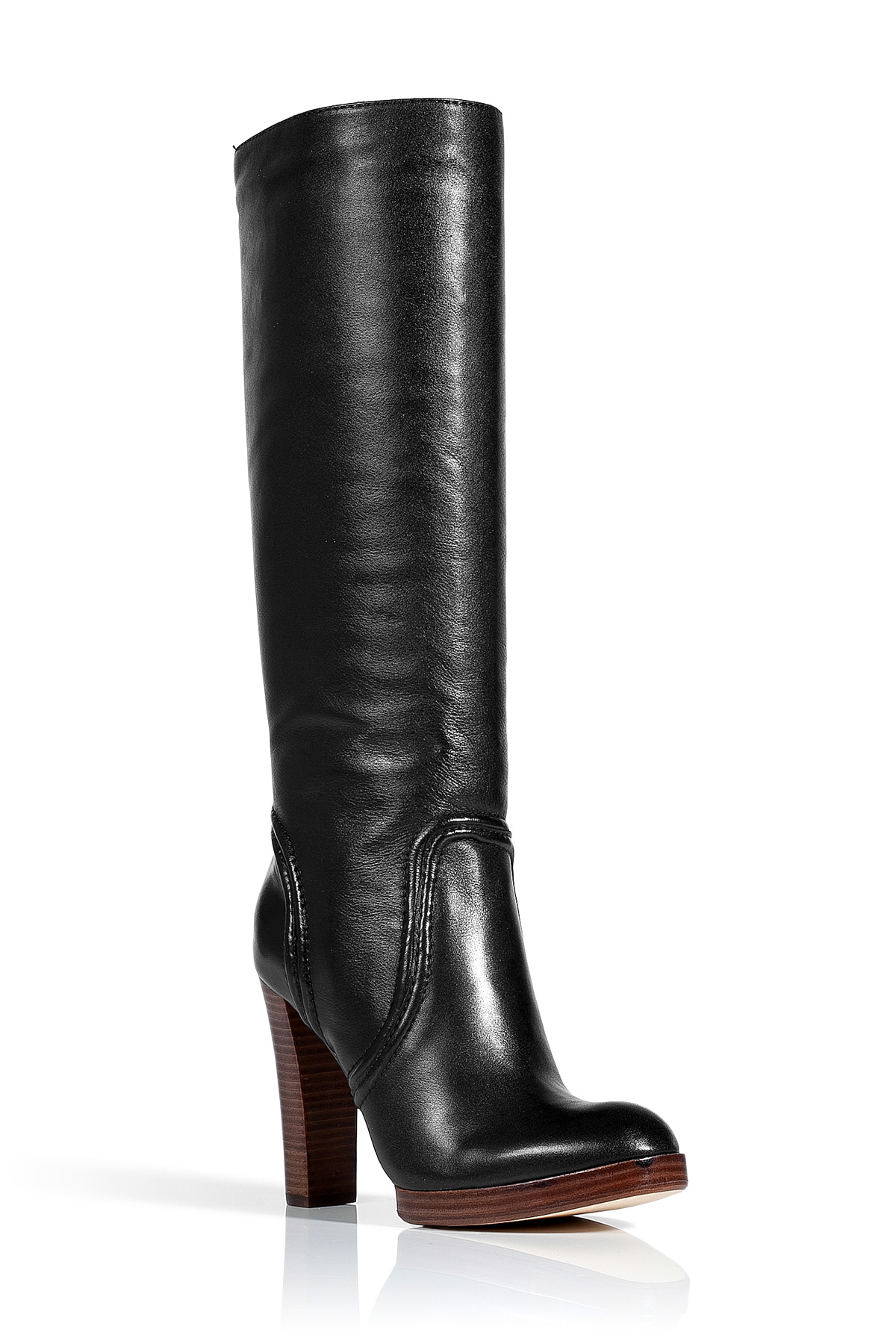 kors by michael kors black leather stacked heel boots in