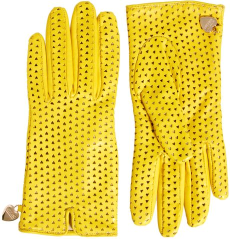 Moschino Cheap & Chic Perforated Heart Gloves in Yellow (lemon) - Lyst