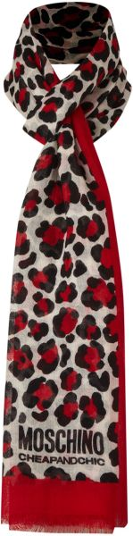 Moschino Cheap & Chic Leopard Print Scarf in Red - Lyst