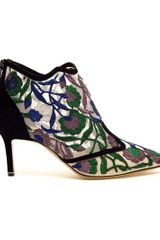 Nicholas Kirkwood Belle Epoque Embroidered Mesh Boots in Green (taupe) - Lyst