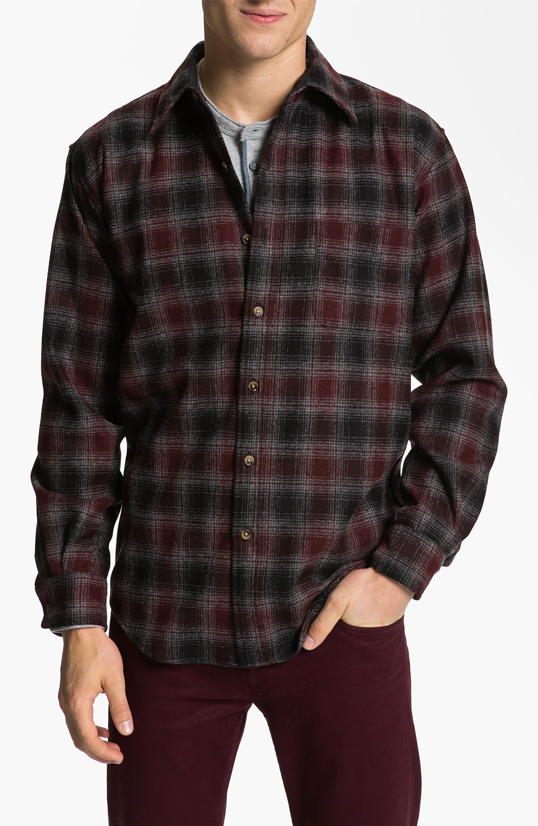 Pendleton lodge fitted plaid wool flannel shirt in brown for Mens wool flannel shirt