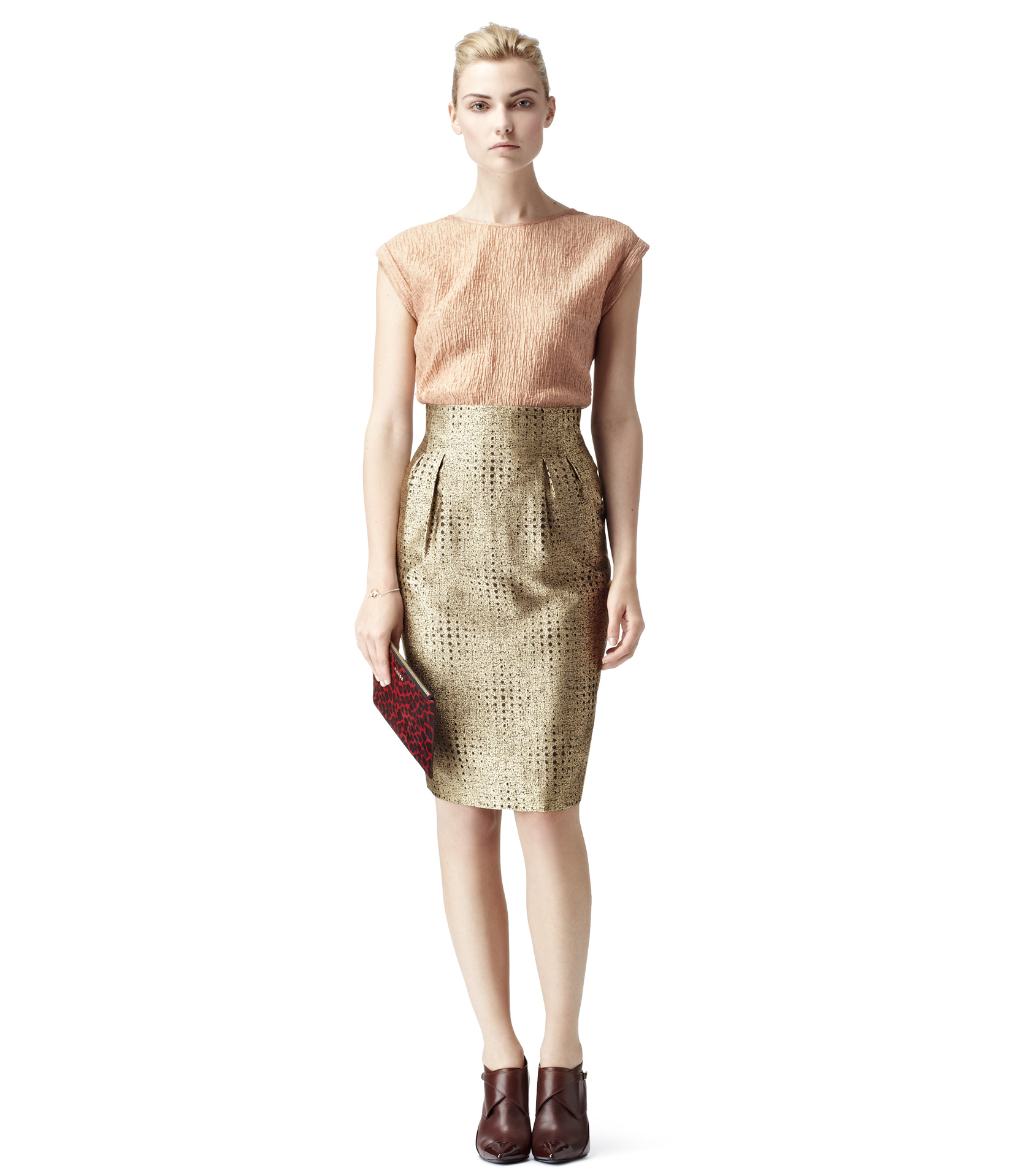 ef1e4f569 Reiss Inverted Pleat Pencil Skirt in Metallic - Lyst