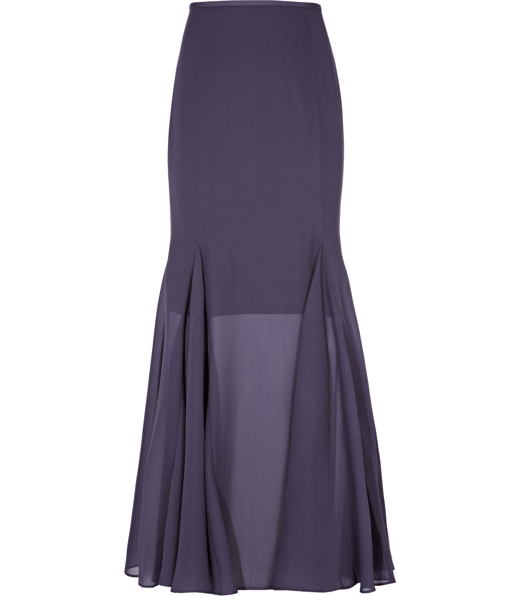 reiss sheer maxi skirt in purple grape lyst