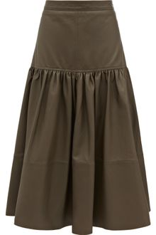Reiss Midi Leather Skirt - Lyst