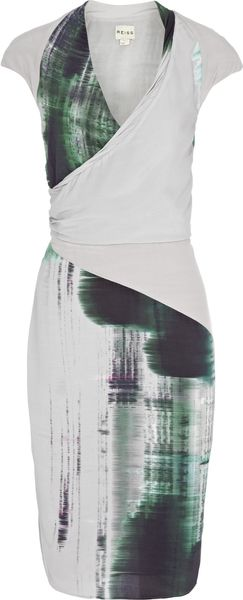 Reiss Draped Printed Dress in Green (pale grey)