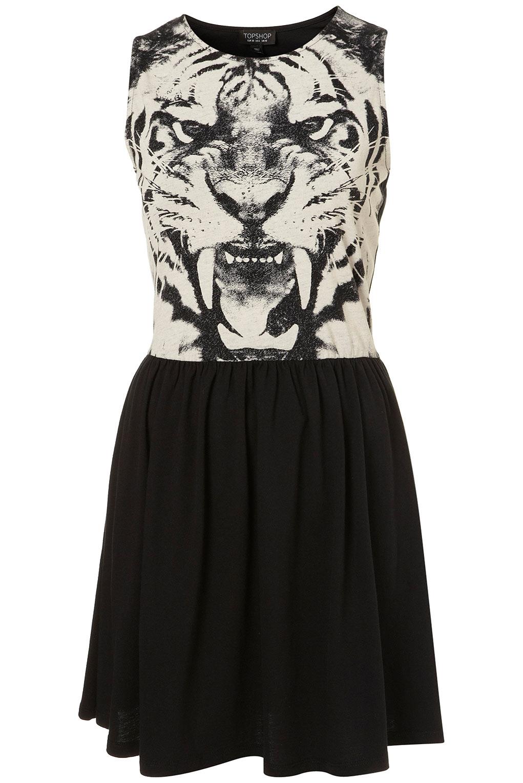 Lyst Topshop Tiger Face Skater Dress In Black