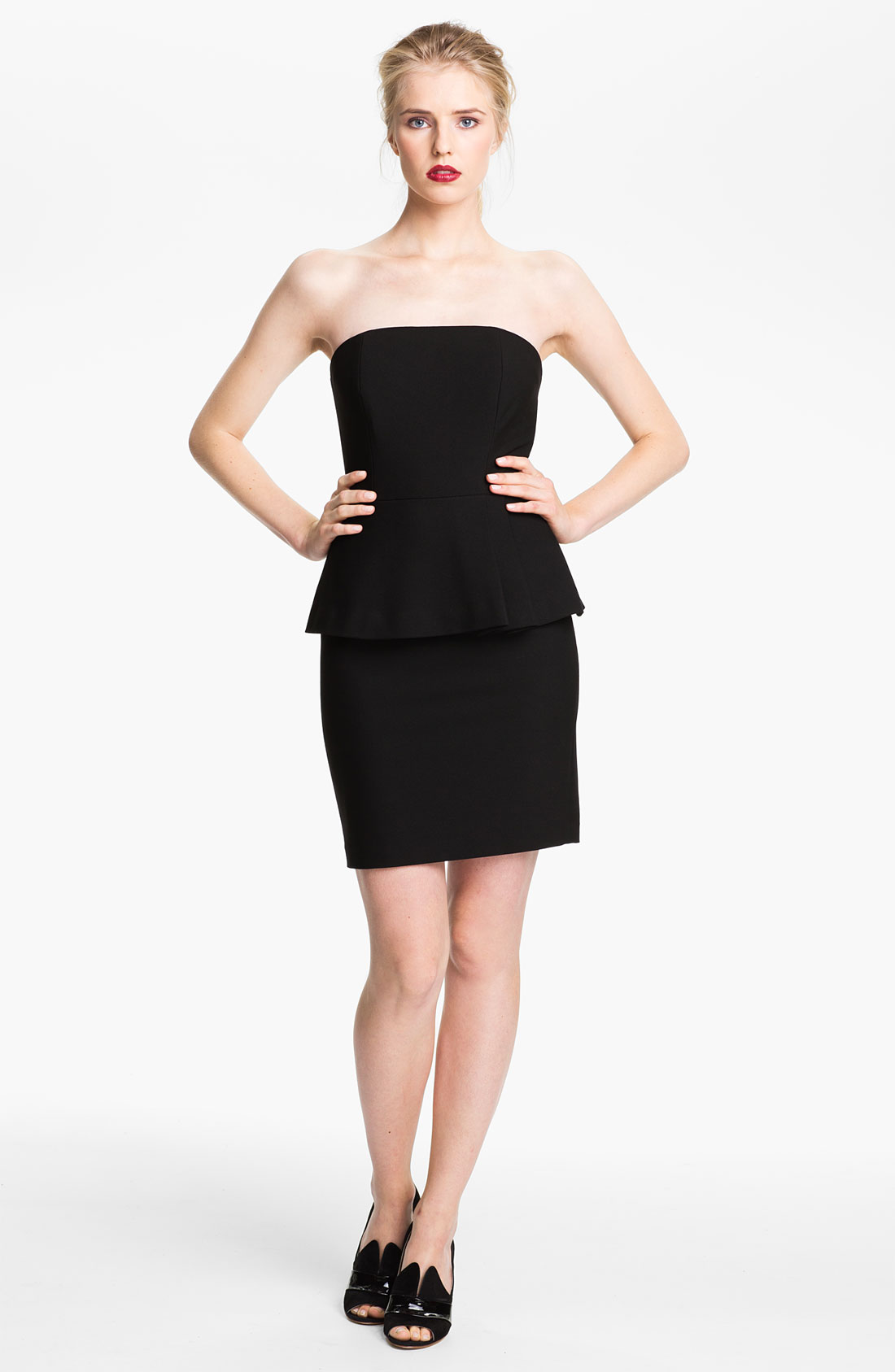 tracy reese strapless peplum dress in black lyst