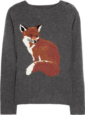 Aubin & Wills Portland Fox Intarsia Merino Wool Sweater - Lyst