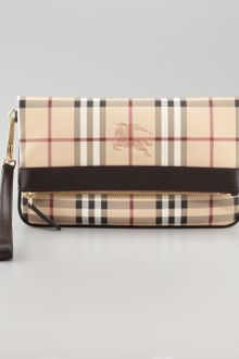 Burberry Leather Trim Check Wristlet - Lyst