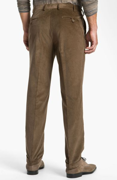 Canali Flat Front Corduroy Pants In Brown For Men Lyst
