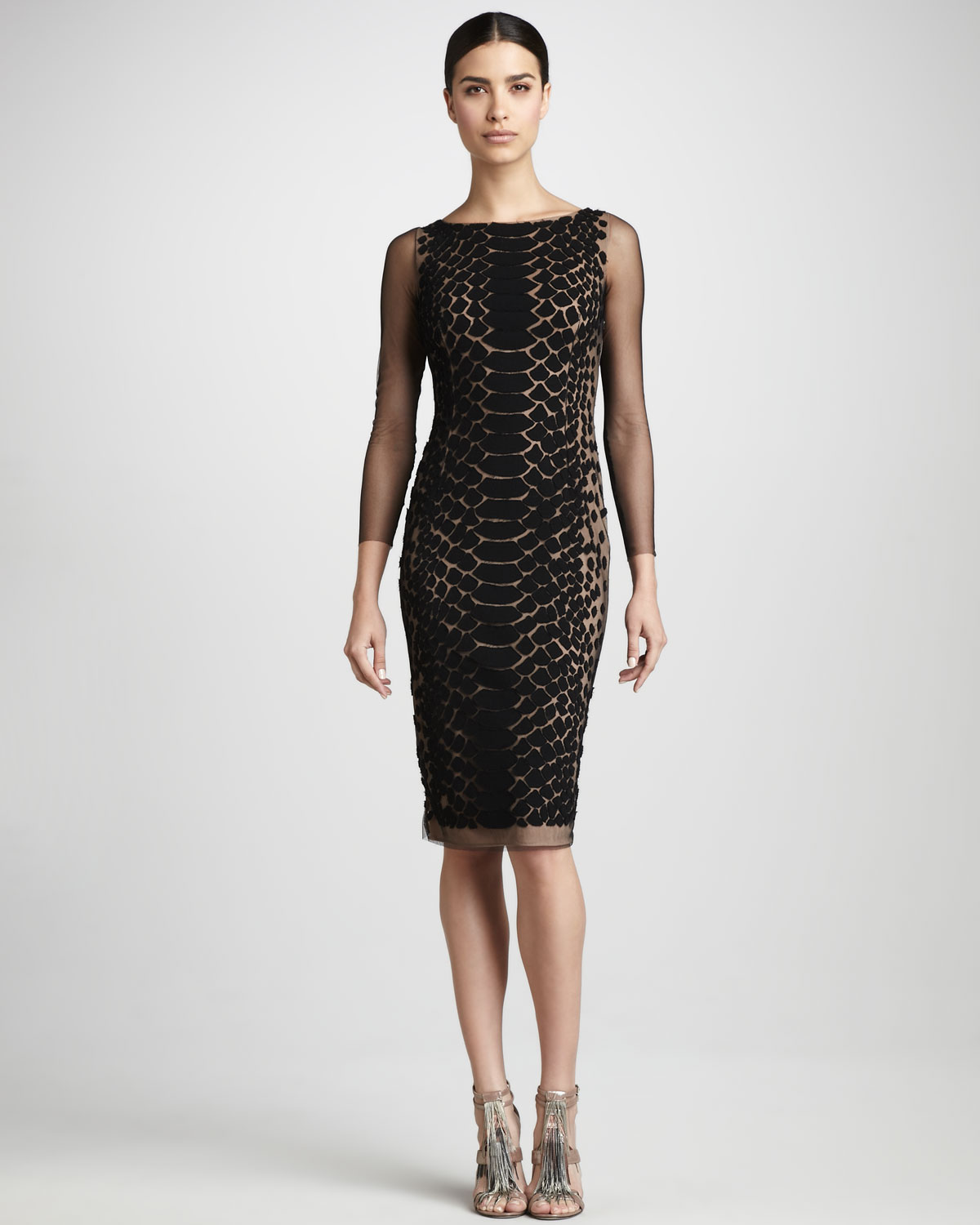 Lyst - Carmen Marc Valvo Snakeskinprint Cocktail Dress in Black
