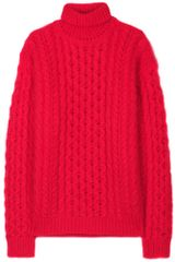 Christopher Kane Cableknit Turtleneck Sweater in Red - Lyst