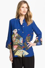Citron Mandarin Collar Silk Blouse - Lyst