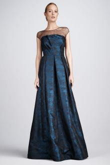 David Meister Signature Jacquard Illusion Gown - Lyst