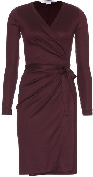 Diane Von Furstenberg Deepa Woolen Wrap Dress in Purple (bordeaux) - Lyst