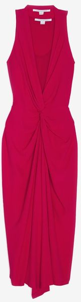 Diane Von Furstenberg Eileen V Neck Halter Dress in Red - Lyst