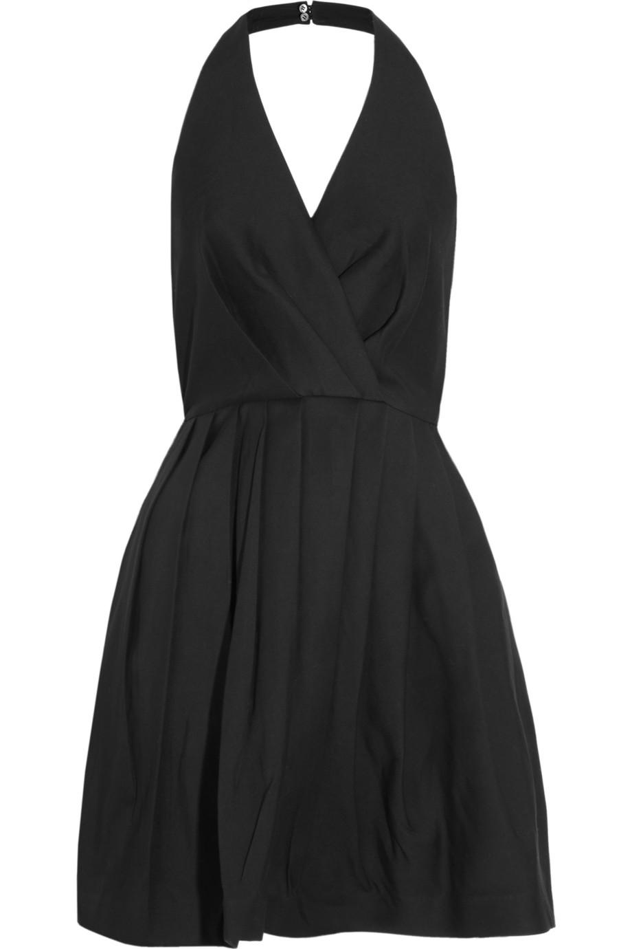 Halston Silk And Cottonblend Halterneck Dress In Black Lyst