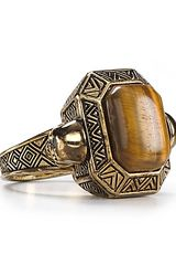 House Of Harlow 14kt Plated Engraved Skull Tigers Eye Cocktail Ring - Lyst