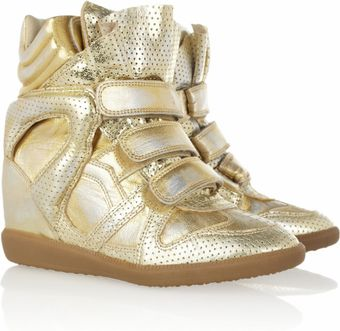 Isabel Marant Bird Metallic Leather Sneakers - Lyst