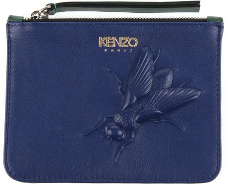 Kenzo Bicolored Pouch in Leather with Engraved Insect in Blue - Lyst